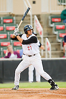 Kannapolis Intimidators third baseman Nick Basto (27) at bat against the Greensboro Grasshoppers at CMC-Northeast Stadium on July 12, 2013 in Kannapolis, North Carolina.  The Grasshoppers defeated the Intimidators 2-1.   (Brian Westerholt/Four Seam Images)