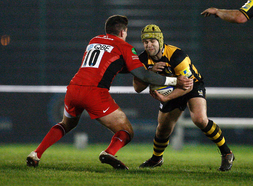 Photo: Richard Lane/Richard Lane Photography. Wasps A v Saracens Stormers. Aviva A League. 28/11/2011. Wasps' Lewis Calder attacks.