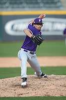 Furman Paladins relief pitcher Jeremiah Garcia (40) in action against the Wake Forest Demon Deacons at BB&T BallPark on March 2, 2019 in Charlotte, North Carolina. The Demon Deacons defeated the Paladins 13-7. (Brian Westerholt/Four Seam Images)