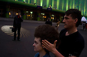 Kiev, Ukraine.May 20, 2005 ..Doing hair and make-up outside the hall the night of the Eurovision contest in Kiev...