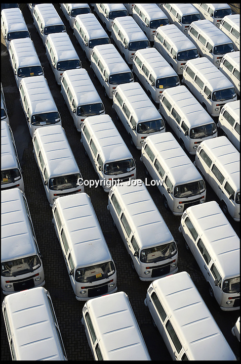 BNPS.co.uk (01202 558833)<br /> Pic: Danbury/BNPS<br /> <br /> ****Please use full byline****<br /> <br /> The last VW campervans arrived at Southampton docks. <br /> <br /> The last ever delivery of brand new Volkswagen campervans has arrived in Britain marking the end of an era for the iconic 'hippy bus'.<br /> <br /> Ninety nine of the final batch of vans rolled off the production line and onto a container ship bound for British shores after manufacture ceased for good in Brazil in December.<br /> <br /> And though the consignment has only just arrived, almost all of the vans have already been snapped up by eager buyers happy to fork out the &pound;35,000 starting price.<br /> <br /> They are the last brand new campers in all of Europe.