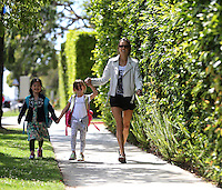 April 4 2014 Alessandra Ambrosio sighting in Santa Monica walking with children.  SP1/Starlitepics