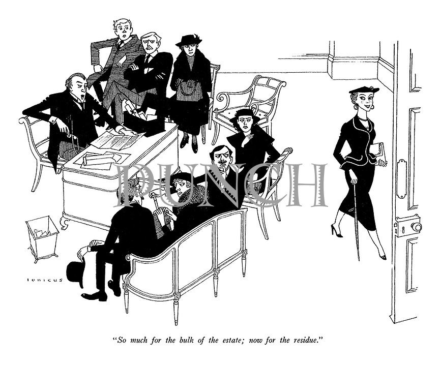 """""""So much for the bulk of the estate; now for the residue."""" (a young woman leaves the solicitor's office happily while other family members are disappointed during a hearing of a will)"""