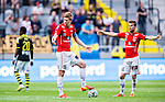 Solna 2014-07-12 Fotboll Allsvenskan AIK - Kalmar FF :  <br /> Kalmars David Elm och M&aring;ns S&ouml;derqvist sl&aring;r ut med armarna efter att AIK:s Nabil Bahoui  gjort 1-0 i den f&ouml;rsta halvleken<br /> (Foto: Kenta J&ouml;nsson) Nyckelord:  AIK Gnaget Friends Arena Kalmar KFF depp besviken besvikelse sorg ledsen deppig nedst&auml;md uppgiven sad disappointment disappointed dejected