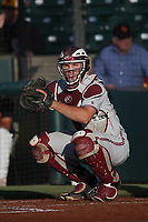 Maverick Handley (10) of the Stanford Cardinal behind the plate during a game against the Southern California Trojans at Dedeaux Field on April 6, 2017 in Los Angeles, California. Southern California defeated Stanford, 7-5. (Larry Goren/Four Seam Images)