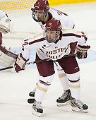 Isaac MacLeod (BC - 7), Brooks Dyroff (BC - 14) - The Boston College Eagles defeated the visiting University of Massachusetts Lowell River Hawks 6-3 on Sunday, October 28, 2012, at Kelley Rink in Conte Forum in Chestnut Hill, Massachusetts.