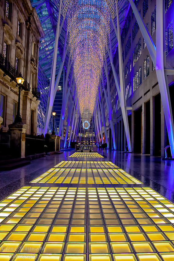 Looking across the atrium at Christmas time at Brookfield Place in downtown Toronto.