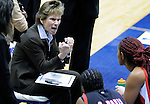 February 3, 2010:  San Diego State head coach, Beth Burns, during Mountain West Conference action between San Diego State and Air Force at Clune Arena, U.S. Air Force Academy, Colorado Springs, Colorado.  San Diego State defeats Air Force 68-48.