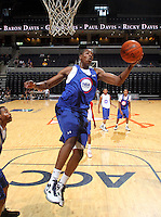 Sidiki Johnson at the NBPA Top100 camp at the John Paul Jones Arena Charlottesville, VA. Visit www.nbpatop100.blogspot.com for more photos. (Photo © Andrew Shurtleff)