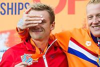 BURNELL Jack GBR silver medal jokes with WEERTMAN Ferry NED gold medal<br /> Hoorn, Netherlands <br /> LEN 2016 European Open Water Swimming Championships <br /> Open Water Swimming<br /> Men's 10km<br /> Day 01 10-07-2016<br /> Photo Giorgio Perottino/Deepbluemedia/Insidefoto