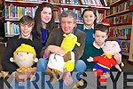 Author Billy Keane, pictured with Christopher Scully, Killarney Community College, Katelyn Nolan, Castleisland Community College, Jemma Donnelly, Colaiste na Sceilige and Ricky Flaherty, Killorglin Community College, pictured at the Kerry Education Service creative writing workshop held in the Killarney Library on Monday.