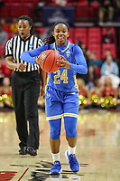 College Park, MD - March 25, 2019: UCLA Bruins guard Japreece Dean (24) passes the ball during game between UCLA and Maryland at  Xfinity Center in College Park, MD.  (Photo by Elliott Brown/Media Images International)