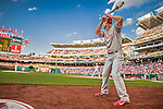 22 May 2015: Philadelphia Phillies outfielder Grady Sizemore stands on deck during a game against the Washington Nationals at Nationals Park in Washington, DC. The Nationals defeated the Phillies 2-1 in the first game of their 3-game weekend series. Mandatory Credit: Ed Wolfstein Photo *** RAW (NEF) Image File Available ***