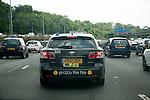 Traffic jam on M25 motorway, England, UK