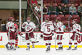 Jake Horton (Harvard - 91), Seb Lloyd (Harvard - 15), Clay Anderson (Harvard - 5), Viktor Dombrovskiy (Harvard - 27), Ryan Donato (Harvard - 16) - The Harvard University Crimson defeated the visiting Rensselaer Polytechnic Institute Engineers 5-2 in game 1 of their ECAC quarterfinal series on Friday, March 11, 2016, at Bright-Landry Hockey Center in Boston, Massachusetts.