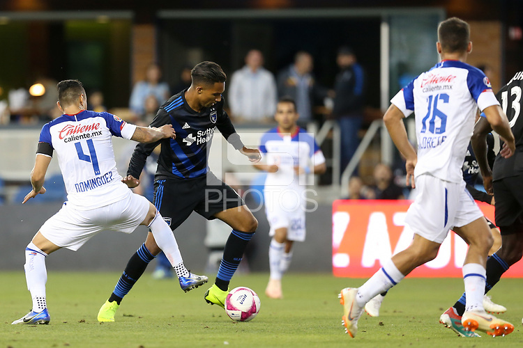 San Jose, CA - Saturday October 13, 2018: Danny Hoesen, Julio César Domínguez during a friendly match between the San Jose Earthquakes and Cruz Azul at Avaya Stadium.