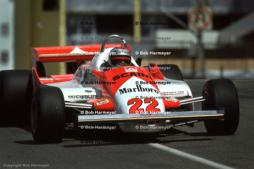 LONG BEACH, CA - MARCH 15: Mario Andretti drives his Alfa Romeo 179C 02/Alfa 1260 during the United States Grand Prix West on March 15, 1981, on the temporary street circuit in Long Beach, California.