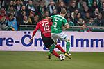 13.04.2019, Weser Stadion, Bremen, GER, 1.FBL, Werder Bremen vs SC Freiburg, <br /> <br /> DFL REGULATIONS PROHIBIT ANY USE OF PHOTOGRAPHS AS IMAGE SEQUENCES AND/OR QUASI-VIDEO.<br /> <br />  im Bild<br /> Pascal Stenzel (SC Freiburg #15)<br /> Ludwig Augustinsson (Werder Bremen #05)<br /> <br /> <br /> Foto &copy; nordphoto / Kokenge