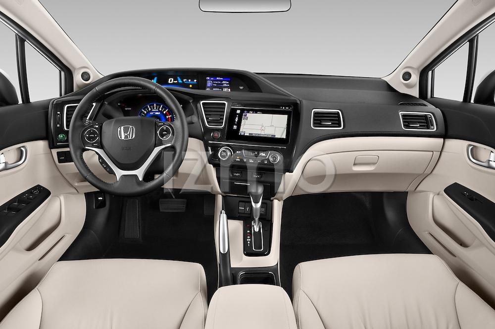 Stock photo of straight dashboard view of a 2015 Honda Civic CNG 4 Door Sedan