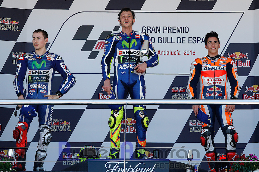 Valentino Rossi, Jorge Lorenzo and Marc Marquez celebrating in Motorcycle Championship GP, in Jerez, Spain. April 24, 2016