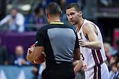 7th September 2017, Fenerbahce Arena, Istanbul, Turkey; FIBA Eurobasket Group D; Latvia versus Turkey; Point Guard Janis Strelnieks #13 of Latvia talks with the referee