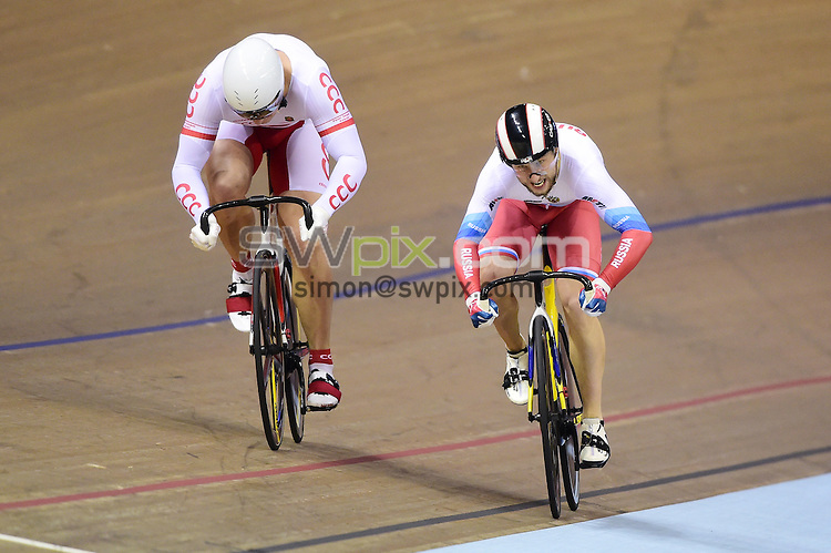 Picture by Alex Broadway/SWpix.com - 04/11/2016 - Cycling - 2016 UCI Track Cycling World Cup, Day 1 - Sir Chris Hoy Velodrome, Glasgow, United Kingdom - Men's Sprint Finals GOLD - Kamil Kuczynski of Poland beats Pavel Yakushevskiy of Russia for Gold.