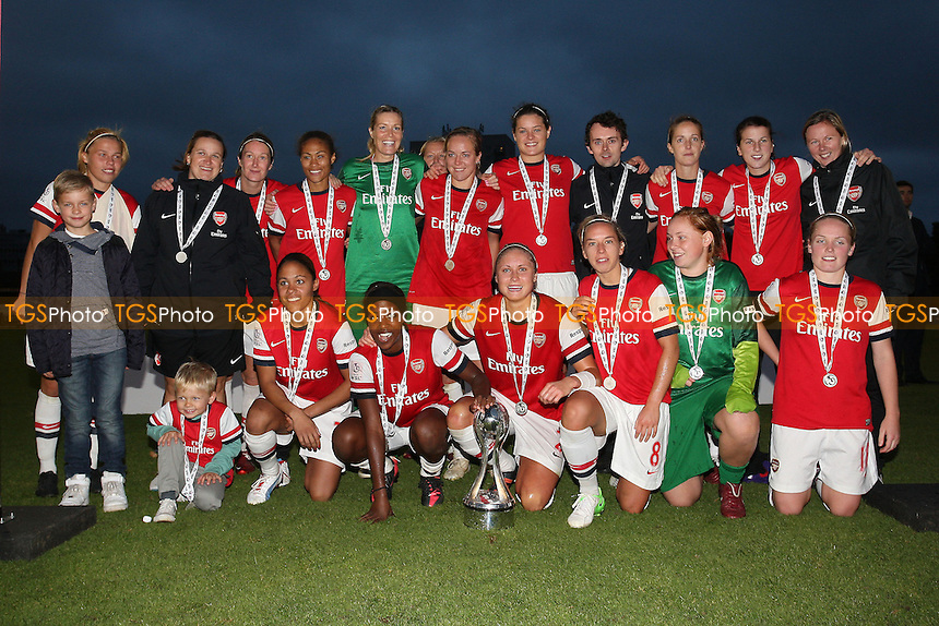 Arsenal celebrate winning the FAWSL Championship - Arsenal Ladies vs Doncaster Rovers Belles - FA Womens Super League Football at Boreham Wood FC - 30/09/12 - MANDATORY CREDIT: Gavin Ellis/TGSPHOTO - Self billing applies where appropriate - 0845 094 6026 - contact@tgsphoto.co.uk - NO UNPAID USE.