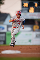 Auburn Doubledays right fielder Kameron Esthay (15) runs the bases during a game against the Batavia Muckdogs on August 26, 2017 at Dwyer Stadium in Batavia, New York.  Batavia defeated Auburn 5-4.  (Mike Janes/Four Seam Images)