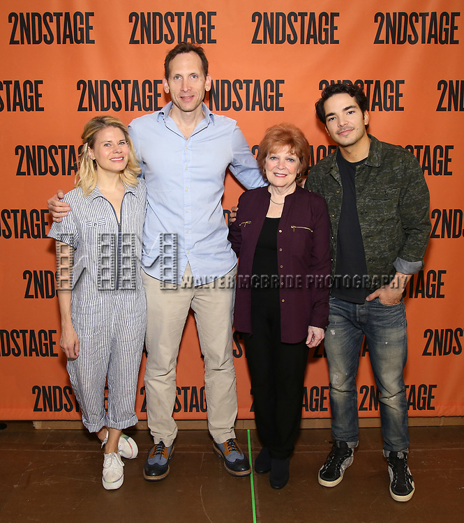 Celia Keenan-Bolger, Stephen Kunken, Anita Gillette, Juan Castano attends the cast photo call for the Second Stage production of  'A Parallelogram' at the Second Stage rehearsal studios on June 29, 2017 in New York City.