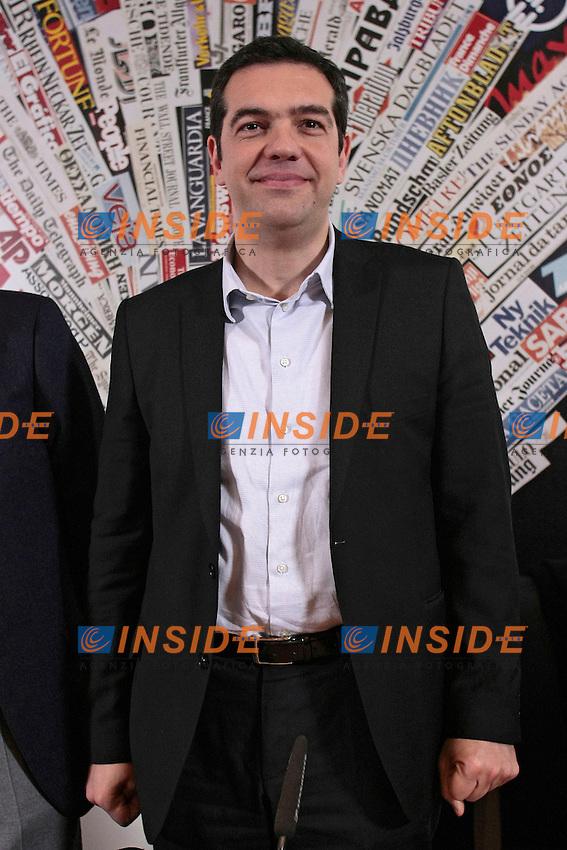 Alexis Tsipras<br /> Roma 07-02-2014 Sala stampa Estera. Conferenza stampa con il Leader della coalizione della sinistra radicale greca (Synaspismos), e candidato alla presidenza della Commissione Europea di Bruxelles.<br /> Press conference of the Leader of the Greek radical left party called Synaspismos.<br /> Photo Samantha Zucchi Insidefoto
