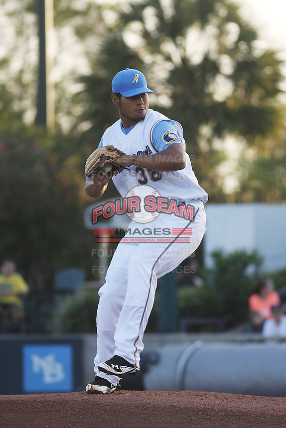 Myrtle Beach Pelicans pitcher Wilmer Font #36 pitching during a game against the Winston-Salem Dash at Tickerreturn.com Field at Pelicans Ballpark on April 16, 2012 in Myrtle Beach, South Carolina. Myrtle Beach defeated Winston Salem by the score of 2-0. (Robert Gurganus/Four Seam Images)