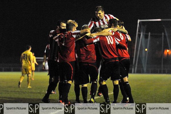 The hornchurch players celebrate the third Urchin goalAFC Hornchurch Vs Colchester United. Essex Senior Cup. Fifth (5th) Round.The Stadium. Essex. 08/01/2013. MANDATORY Credit Garry Bowden/Sportinpictures - NO UNAUTHORISED USE - 07837 394578