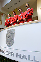 The 2004 inductees of the National Soccer Hall of Fame and Museum, Paul Caligiuri, Michelle Akers, Eric Wynalda, and Michael Windishmann pose for photos prior to the ceremony. on Monday October 11, 2004 at the National Soccer Hall of Fame and Museum, Oneonta, NY..