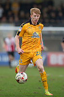 Brad Halliday of Cambridge United during the Sky Bet League 2 match between Cheltenham Town and Cambridge United at the LCI Stadium, Cheltenham, England on 18 March 2017. Photo by Mark  Hawkins / PRiME Media Images.