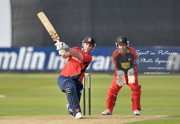 Hamish Rutherford (Essex) hits out, watched by Gareth Cross (Lancashire. wicketkeeper). Essex V Lancashire. Yorkshire Bank 40. The Essex County Ground (ECG). Chelmsford. Essex. 16/06/2013. MANDATORY Credit Garry Bowden/Sportinpictures - NO UNAUTHORISED USE - 07837 394578
