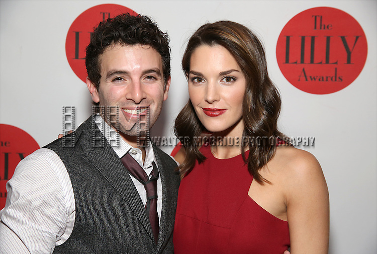 Jarrod Spector and KelliBarrett attends The Lilly Awards Broadway Cabaret at the Cutting Room on October 17, 2016 in New York City.