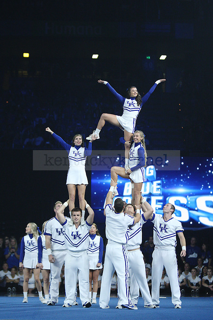 UK cheerleaders perform during Big Blue Madness in Rupp Arena in Lexington, Ky., on Friday, October 17,  2014. Photo by Emily Wuetcher | Staff