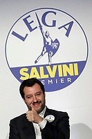 Matteo Salvini<br /> Roma 01/03/2018. Incontro dei leader della coalizione di centrodestra.<br /> Rome March 01st 2018. Meeting of the leaders of the centre-right coalition at the next political elections in Italy, that will take place on March 4th. <br /> Foto Samantha Zucchi Insidefoto