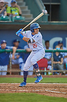 Zac Ching (25) of the Ogden Raptors at bat against the Grand Junction Rockies at Lindquist Field on August 28, 2019 in Ogden, Utah. The Rockies defeated the Raptors 8-5. (Stephen Smith/Four Seam Images)
