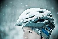 Fat bike snow bike riding on snowy singletrack in Marquette Michigan.