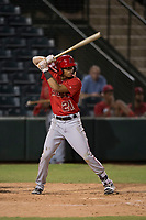 AZL Angels center fielder Jordyn Adams (21) at bat during an Arizona League game against the AZL Padres 2 at Tempe Diablo Stadium on July 18, 2018 in Tempe, Arizona. The AZL Padres 2 defeated the AZL Angels 8-1. (Zachary Lucy/Four Seam Images)