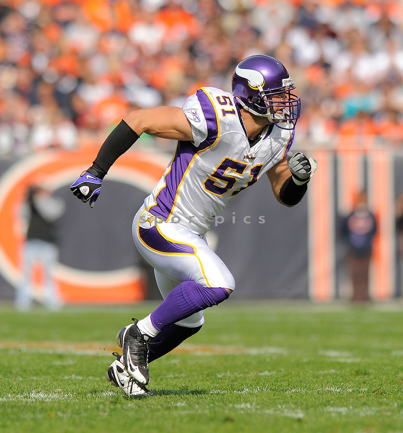 BEN LEBER, of the Minnesota Vikings  in action against the Chicago Bears during the Vikings game in Chicago, IL  on October 19, 2008... The Buccaneers won the game 48-41