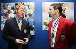 27 August 2006: Alexi Lalas (l), 2006 Hall of Fame inductee, and Marcelo Balboa (r), 2005 Hall of Fame inductee, a long time defensive pairing for the U.S. Men's National Team, during the opening of a new exhibit commemorating the first ten years of Major League Soccer. The President's Reception and Dinner were held at the National Soccer Hall of Fame in Oneonta, New York the evening before the 2006 Induction Ceremony.