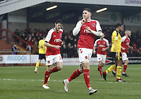 Fleetwood Town's Wes Burns celebrates scoring the opening goal<br /> <br /> Photographer Rich Linley/CameraSport<br /> <br /> The EFL Sky Bet League One - Fleetwood Town v Oxford United - Saturday 12th January 2019 - Highbury Stadium - Fleetwood<br /> <br /> World Copyright &copy; 2019 CameraSport. All rights reserved. 43 Linden Ave. Countesthorpe. Leicester. England. LE8 5PG - Tel: +44 (0) 116 277 4147 - admin@camerasport.com - www.camerasport.com