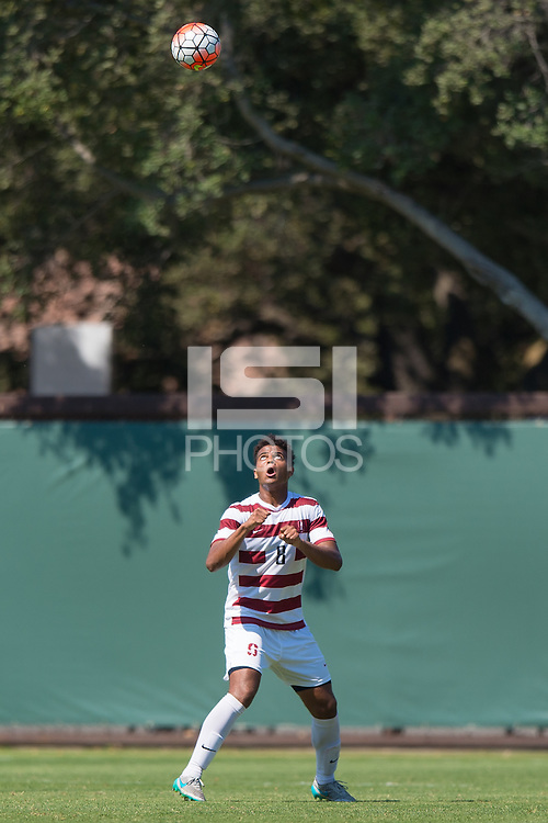 Stanford, CA - September 20, 2015: Brian Nana-Sinkam during the Stanford vs Davidson men's soccer match in Stanford, California.  The Cardinal defeated the Wildcats 1-0 in overtime.