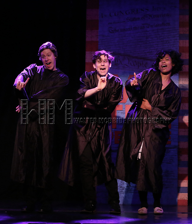 Mitchel Kawash, Richard Spitaletta and Aiesha Dukes perform onstage during the 'ME THE PEOPLE: The Trump America Musical' Press Preview Presentation at The Triad Theater on June 21, 2017 in New York City.