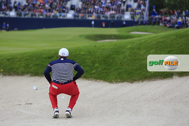 Jordan Spieth (USA) in a fairway bunker on the 15th hole during Sunday's Singles Matches of the Ryder Cup 2014 played on the PGA Centenary Course at the Gleneagles Hotel, Auchterarder, Scotland.: Picture Eoin Clarke, www.golffile.ie: 28th September 2014