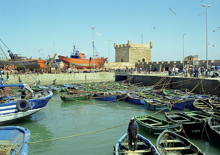 The fishing boat pier at Essouira, Morocco