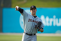 Delmarva Shorebirds starting pitcher Grayson Rodriguez (36) warms up in the outfield prior to the game against the Kannapolis Intimidators at Kannapolis Intimidators Stadium on June 4, 2019 in Kannapolis, North Carolina. The Intimidators defeated the Shorebirds 9-0. (Brian Westerholt/Four Seam Images)