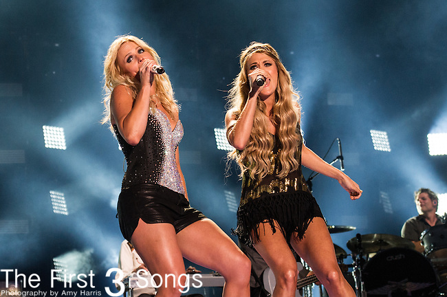 Miranda Lambert and Carrie Underwood perform at LP Field during Day Two of the 2014 CMA Music Festival in Nashville, Tennessee.
